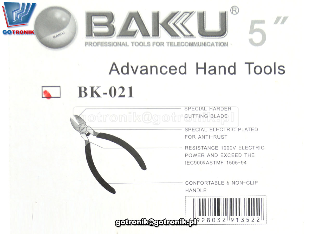 NAR-172szczypce boczne tnące - obcinaczki - obcinarki BAKU BK-021