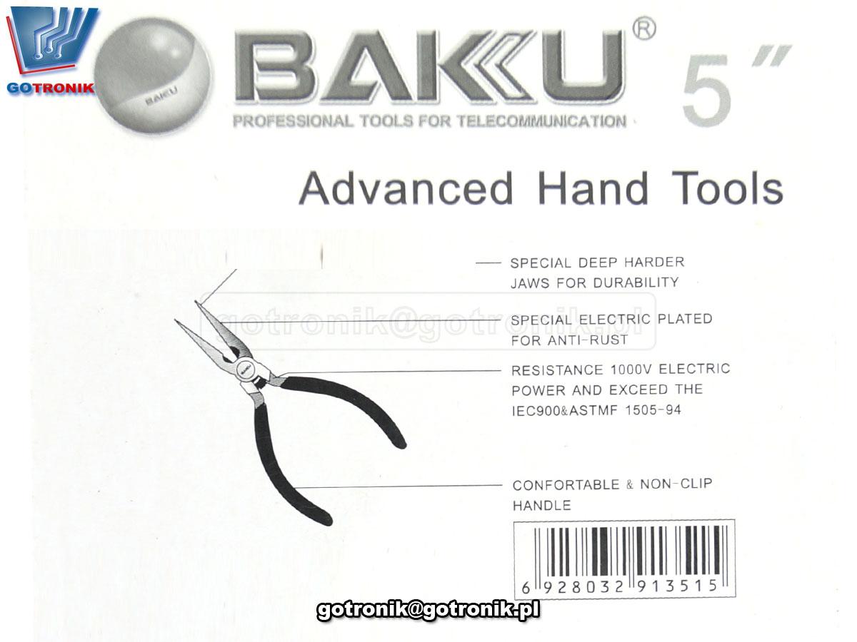 NAR-171 szczypce proste wydłużone - płaskoszczypy - mini kombinerki precyzyjne BAKU BK-031
