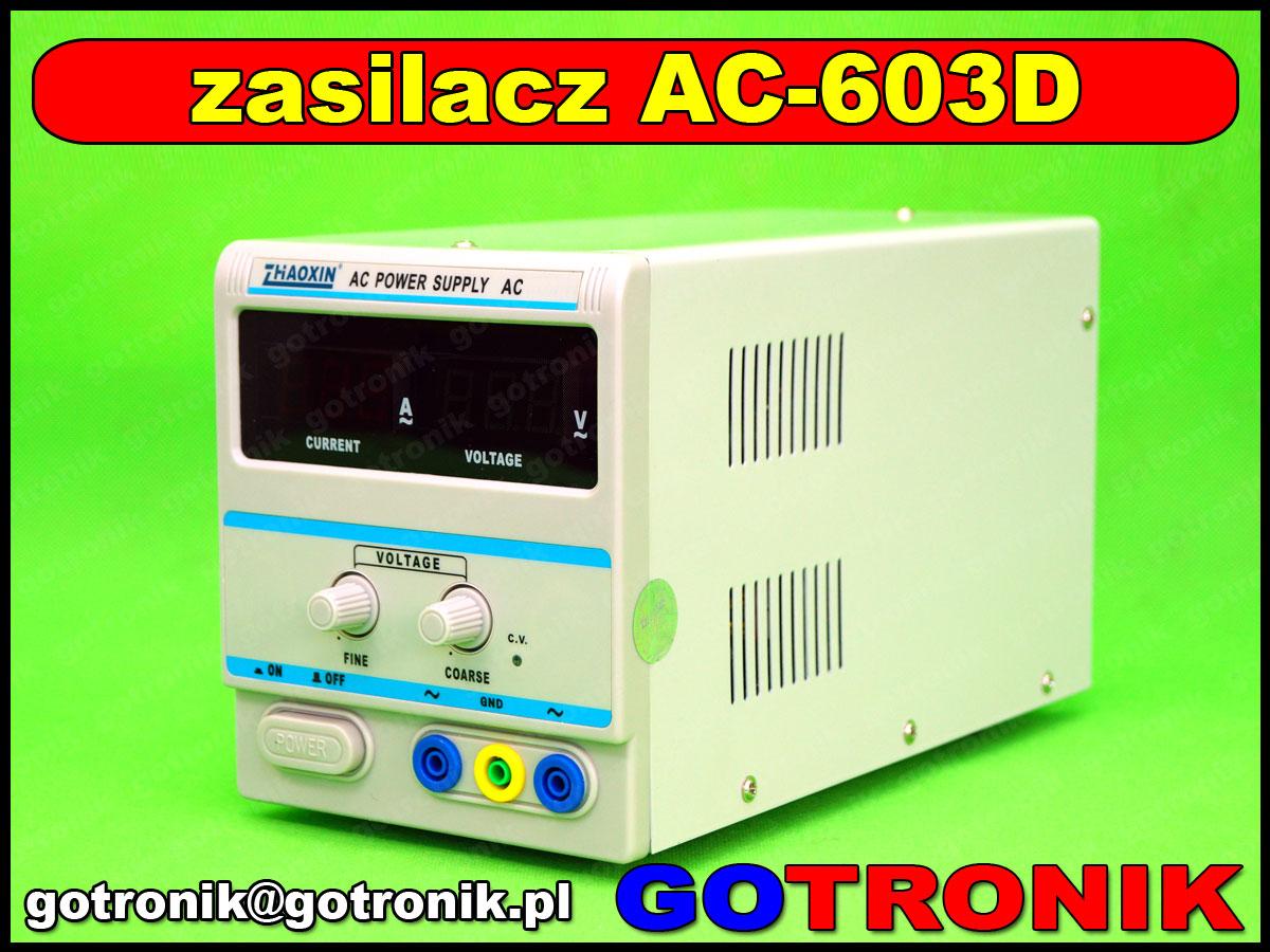 AC-603D, zhaoxin, zasilacz ac, autotransformator, transformator laboratoryjny, transformator regulowany, zasilacz laboratoryjny