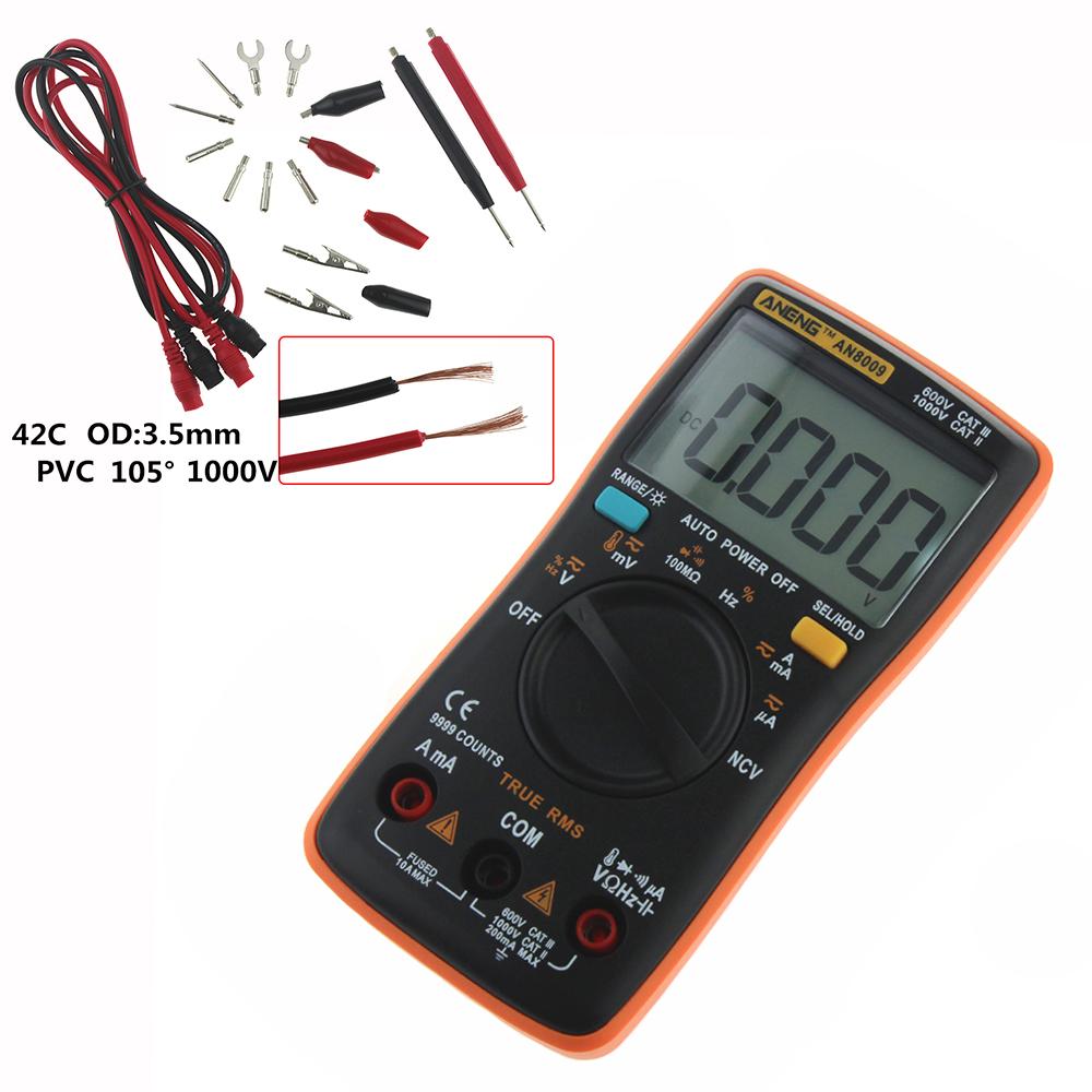 AN8009 Aneng miernik cyfrowy multimetr RC wartość skuteczna TrueRMS LCD 9999