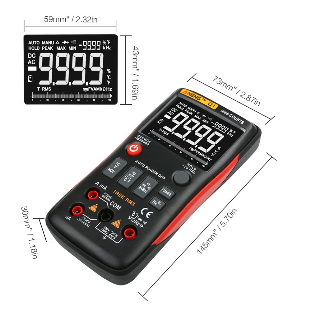 Aneng Q1 miernik cyfrowy multimetr RC wartość skuteczna TrueRMS LCD 9999