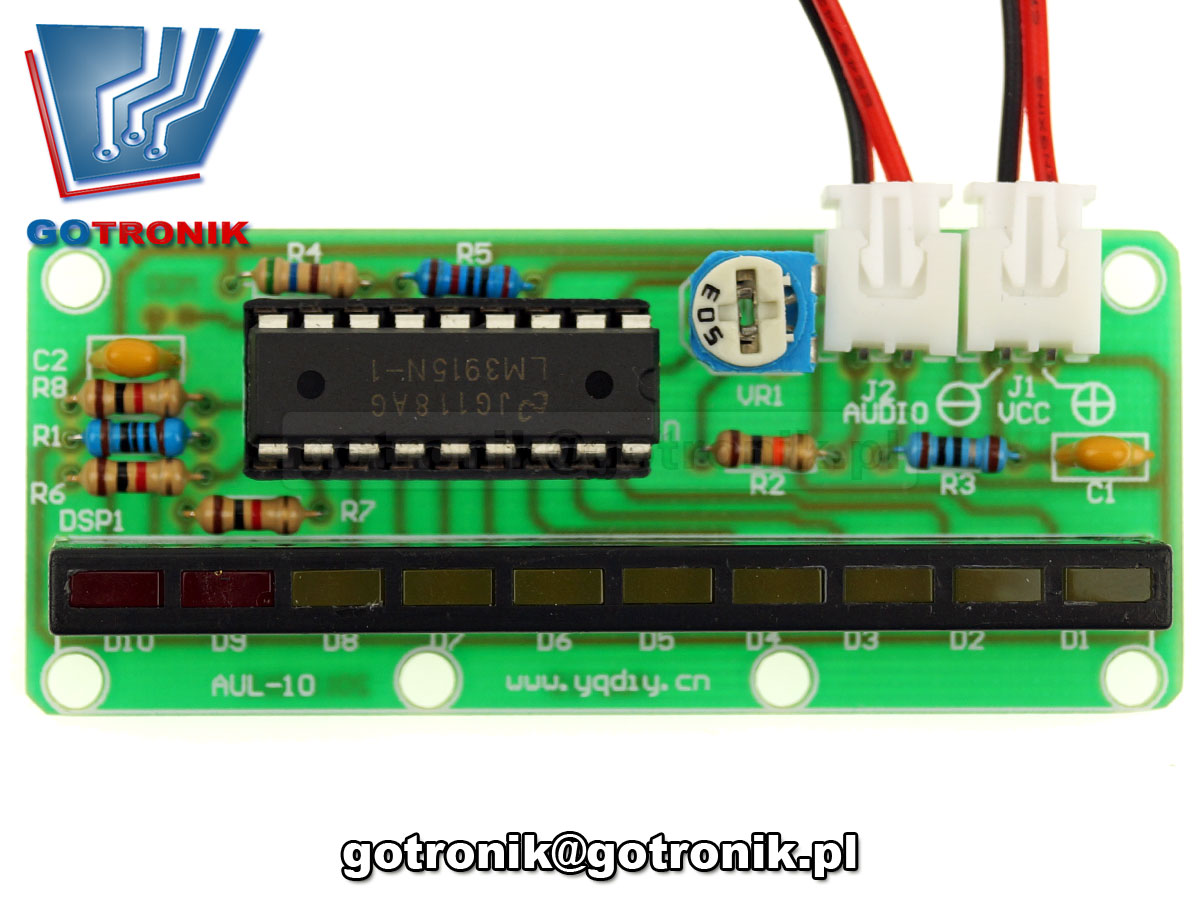 BTE-084 wskaźnik wysterowania audio 10 led Audio Spectrum efekt świetlny LM3915 UV meter - zestaw do samodzielnego montażu KIT DIY