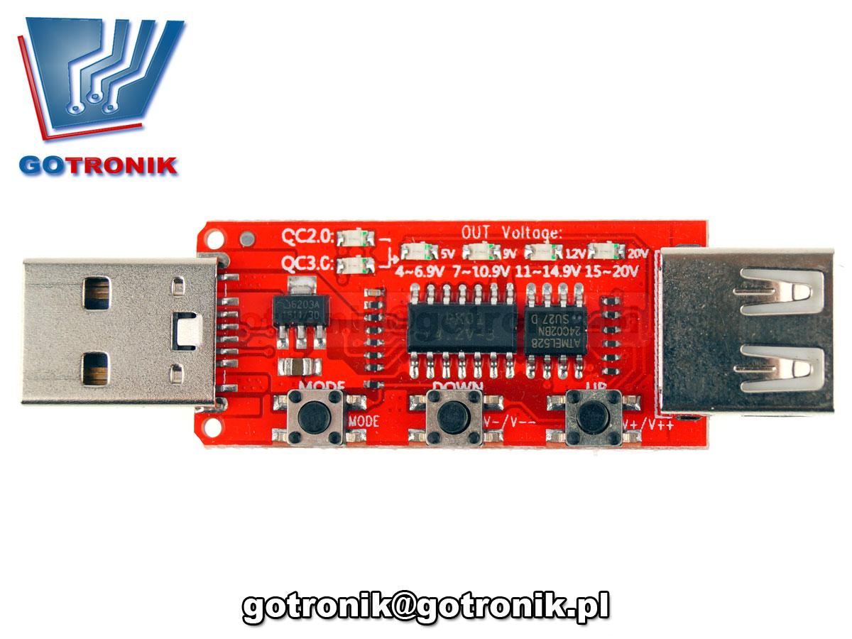 Wyzwalacz - tester dla ładowarek USB QC2.0/3.0 Qualcomm Quick Charge BTE-363