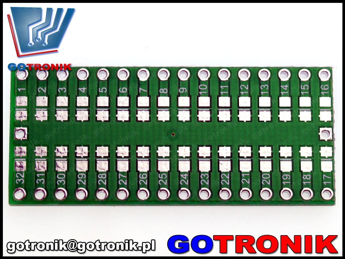 Płytka drukowana QFP32 na DIP32 raster 0.8mm adaptera QFP32 TQFP32 FQFP32 PQFP32 bte-432