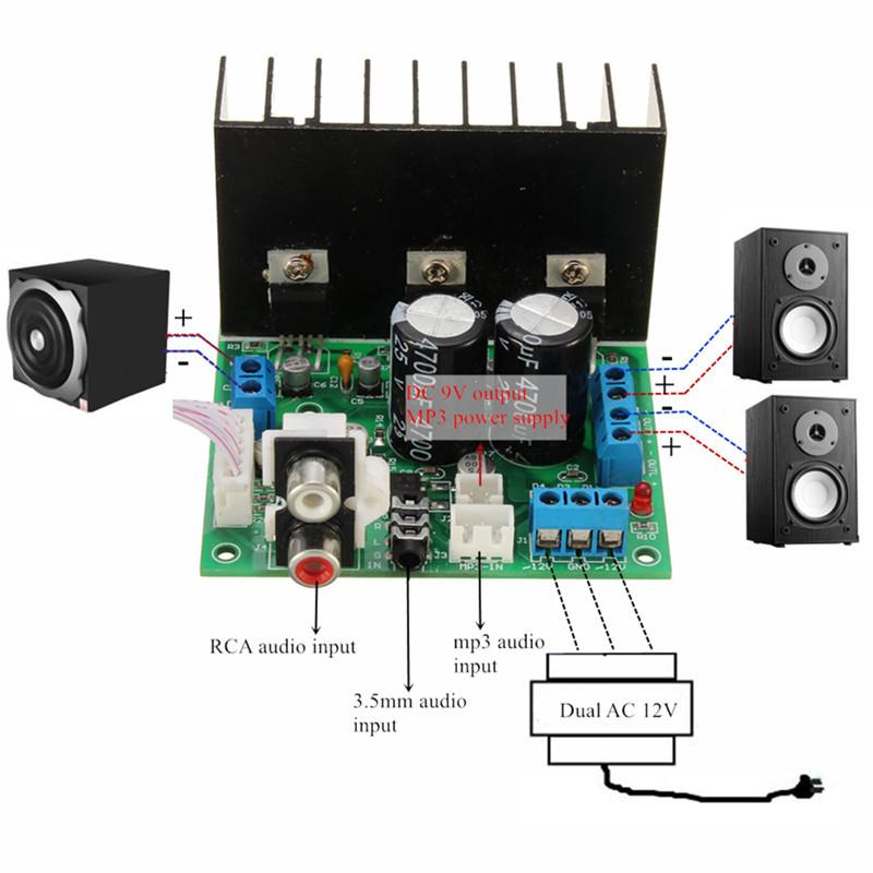 BTE-449 wzmaczniacz TDA2030A klasa AB audio mocy stero subwoofer