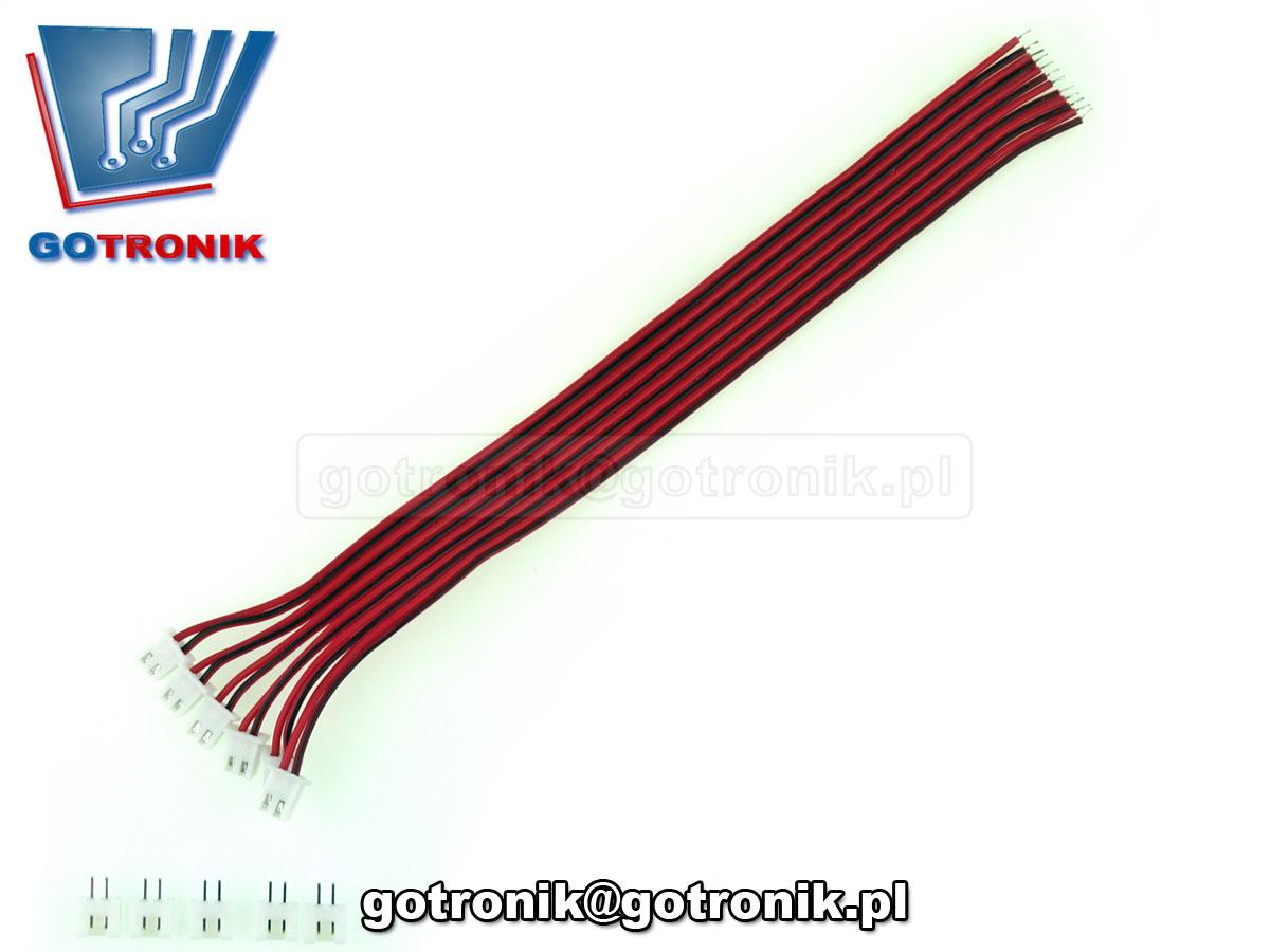 Zestaw 5 kompletów przewodów dwużyłowych zakończonych wtykiem JST XH2.54 wraz z gniazdem do druku. Przewód o łącznej długości 20 cm. BTE-582