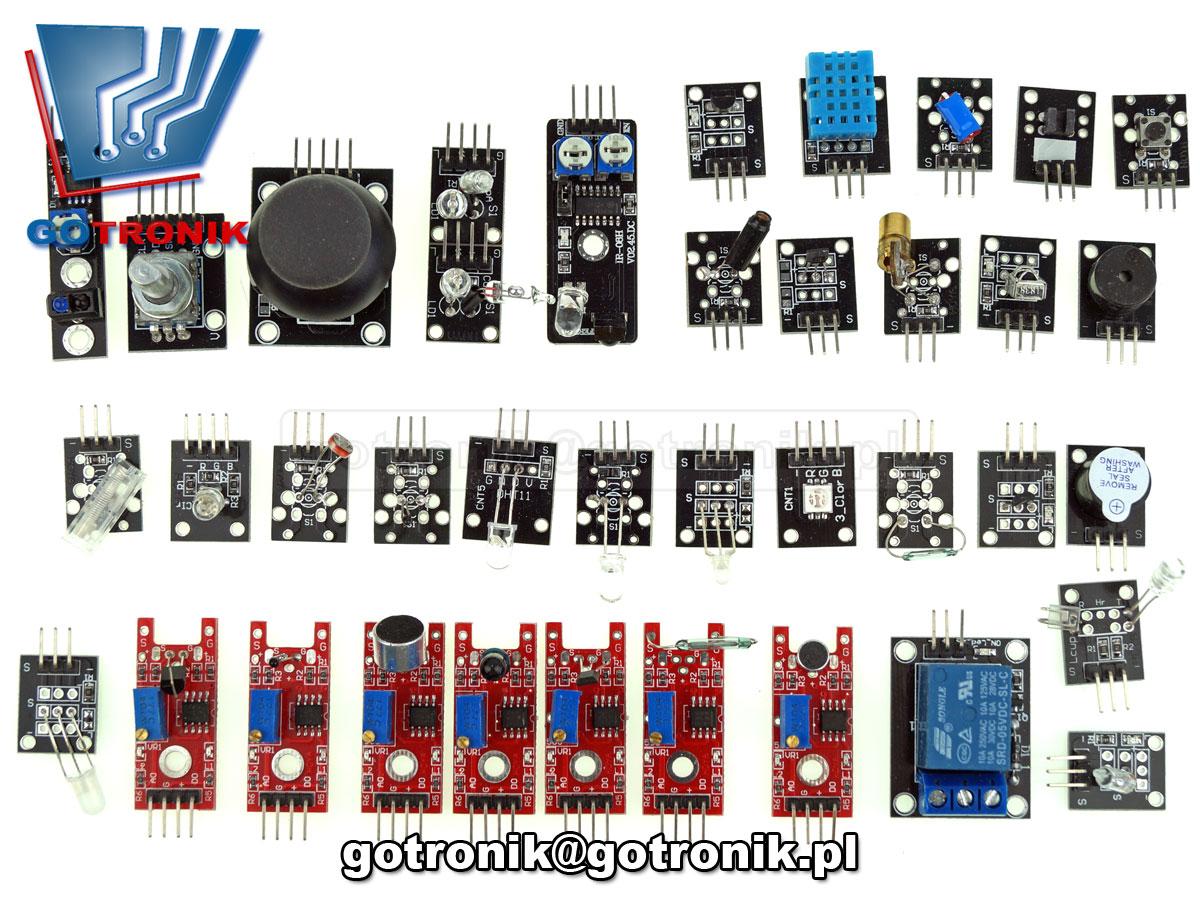 BTE-602 Zestaw 37 elementów do Arduino sensorów czujników minimodułów elektronicznych