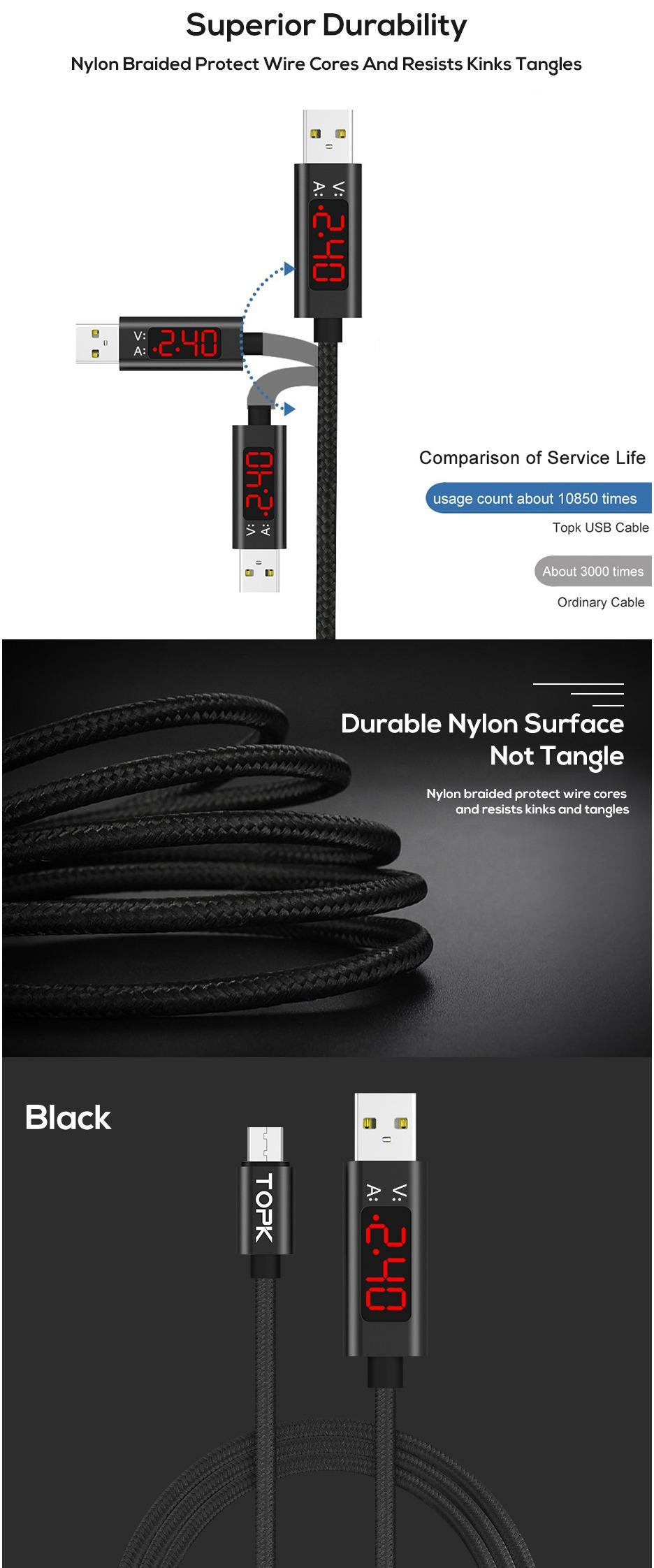 BTE-600 przewód USB microUSB w oplocie nylonowym TOPK z woltomierzem amperomierzem wyświetlacz LED do ładowania elastyczny