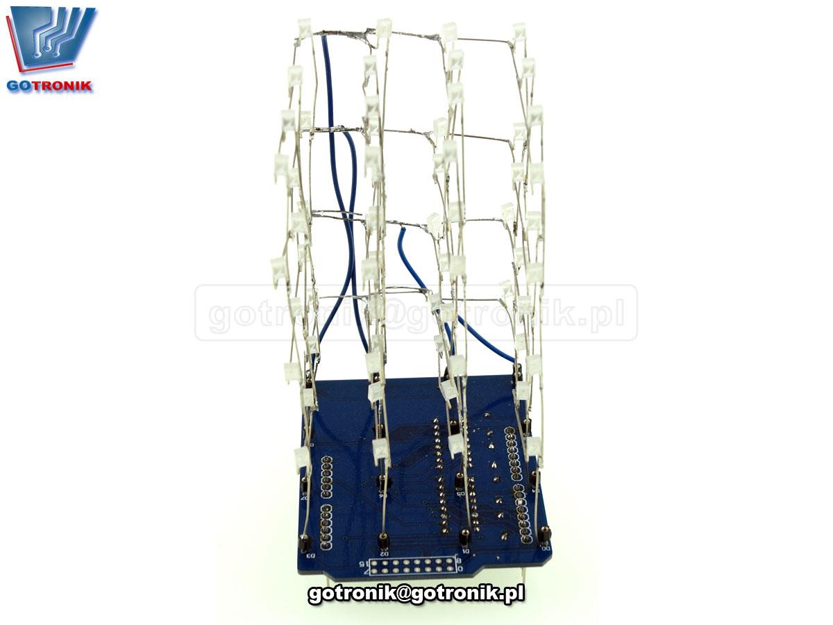 3D LightSquared 4x4x4 LED Cube - Shield Arduino BTE-601 elekt świetlny - zestaw do samodzielnego montażu KIT DIY