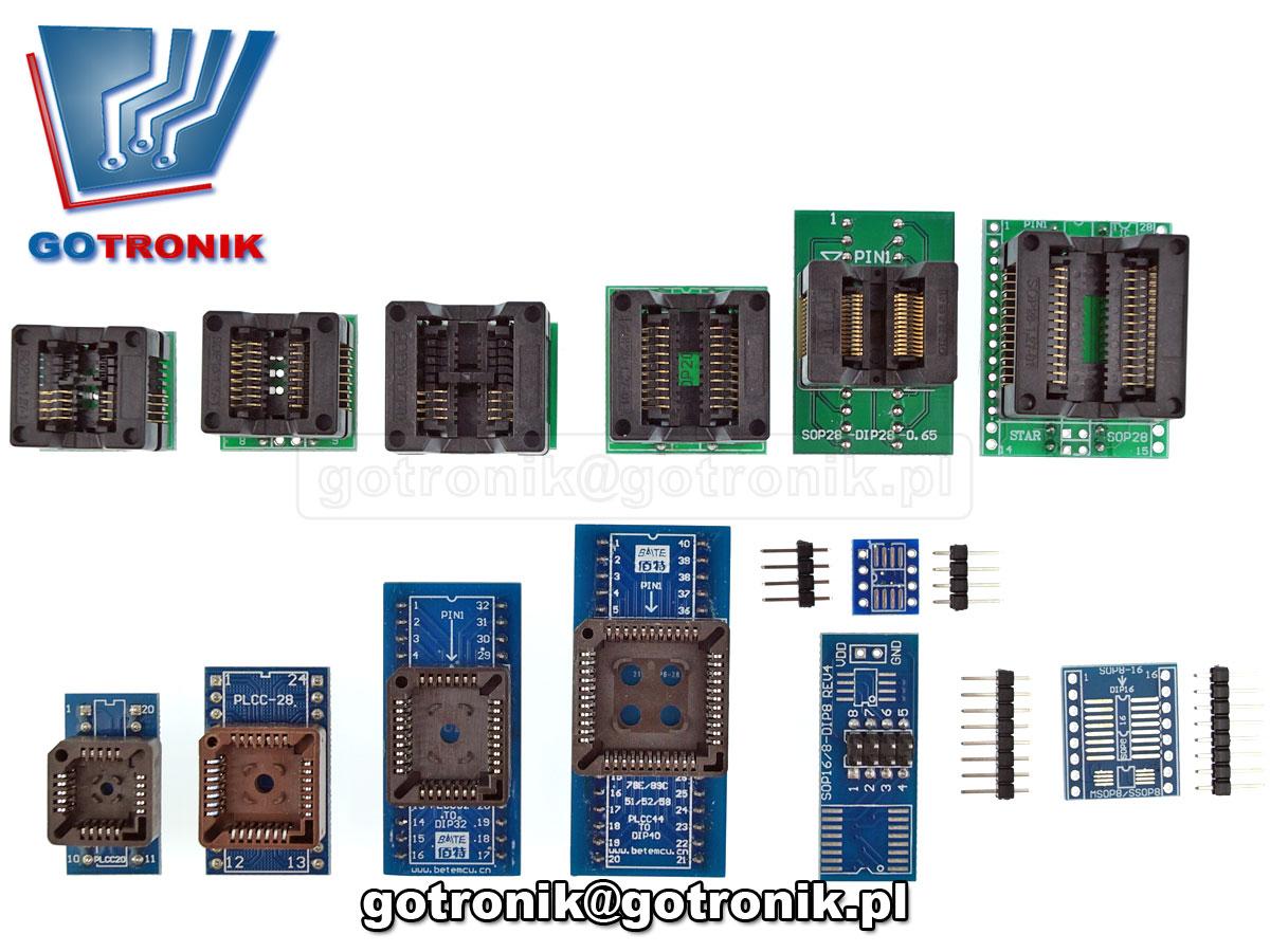 BTE-609 zestaw adapterów uniwersalnych do programatorów PLCC20 PLCC28 PLCC32 PLCC44 SOP8 SO8 SO16 SOP28