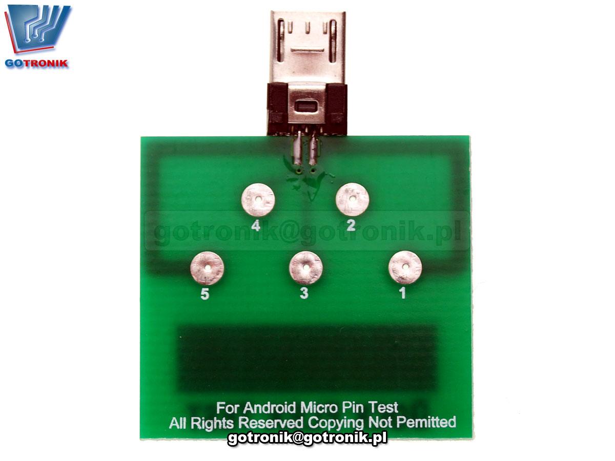 BTE-649 Dock Flex Test - płytka serwisowa z wtykiem microUSb do diagnozy serwisowej telefonów i smartfonów Android. Służy do pomiarów napięcia na złączu i diagnostyki.