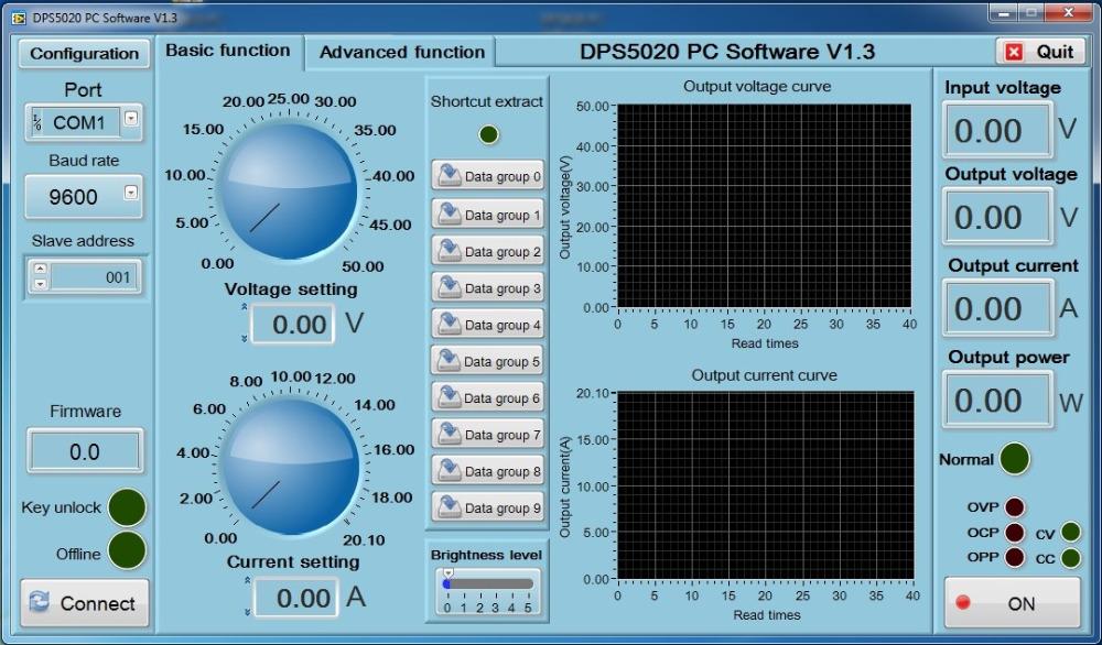 Oprogramowanie Windows PC do sterowania prać modułu przetwornicy (zasilacza) DPH5005: