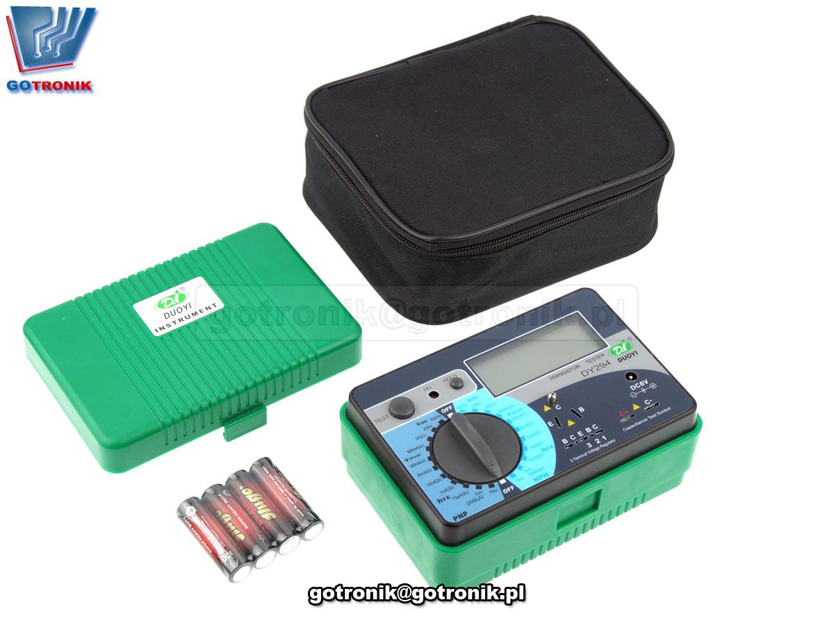 DY294 DOUYI miernik tester tranzystorów Vbr Vce hfe h21e triaków stabilizatorów kondensatorów