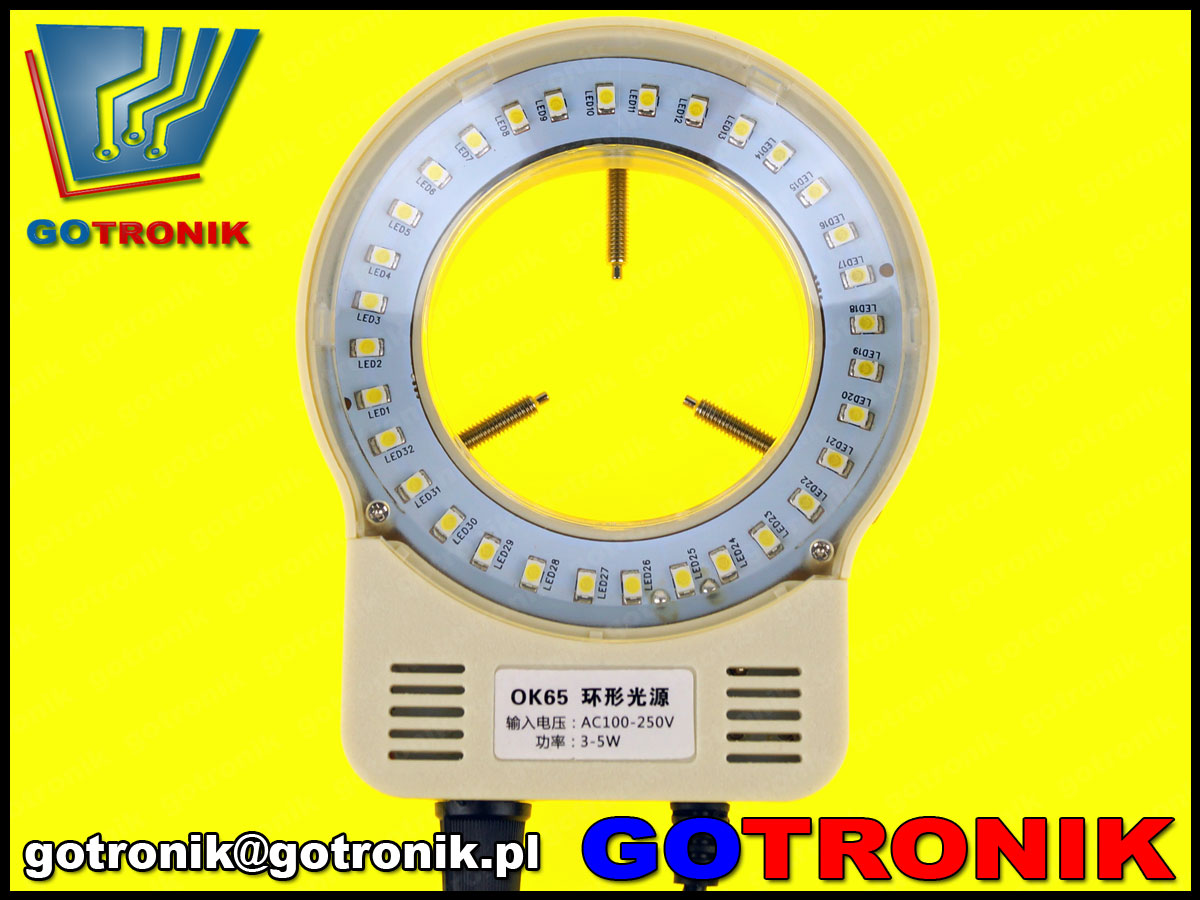 ELEK-077 oświetlacz LED SMD 32 USB 5V do obiektywu mikroskopu lub aparatu fotograficznego