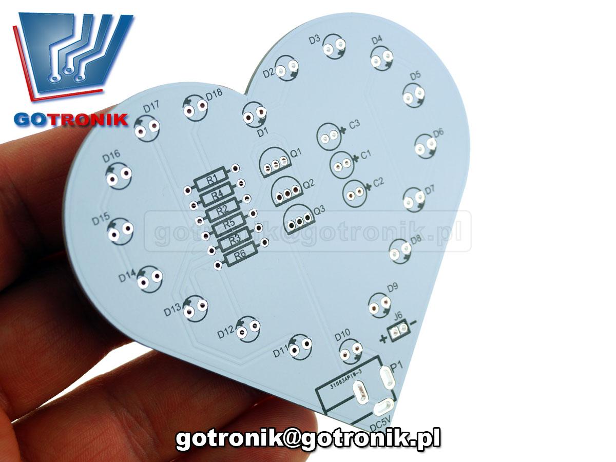 ELEK-089 ELEK-089 serce led 18 diod rgb efekt świetlny - zestaw do samodzielnego montażu KIT DIY