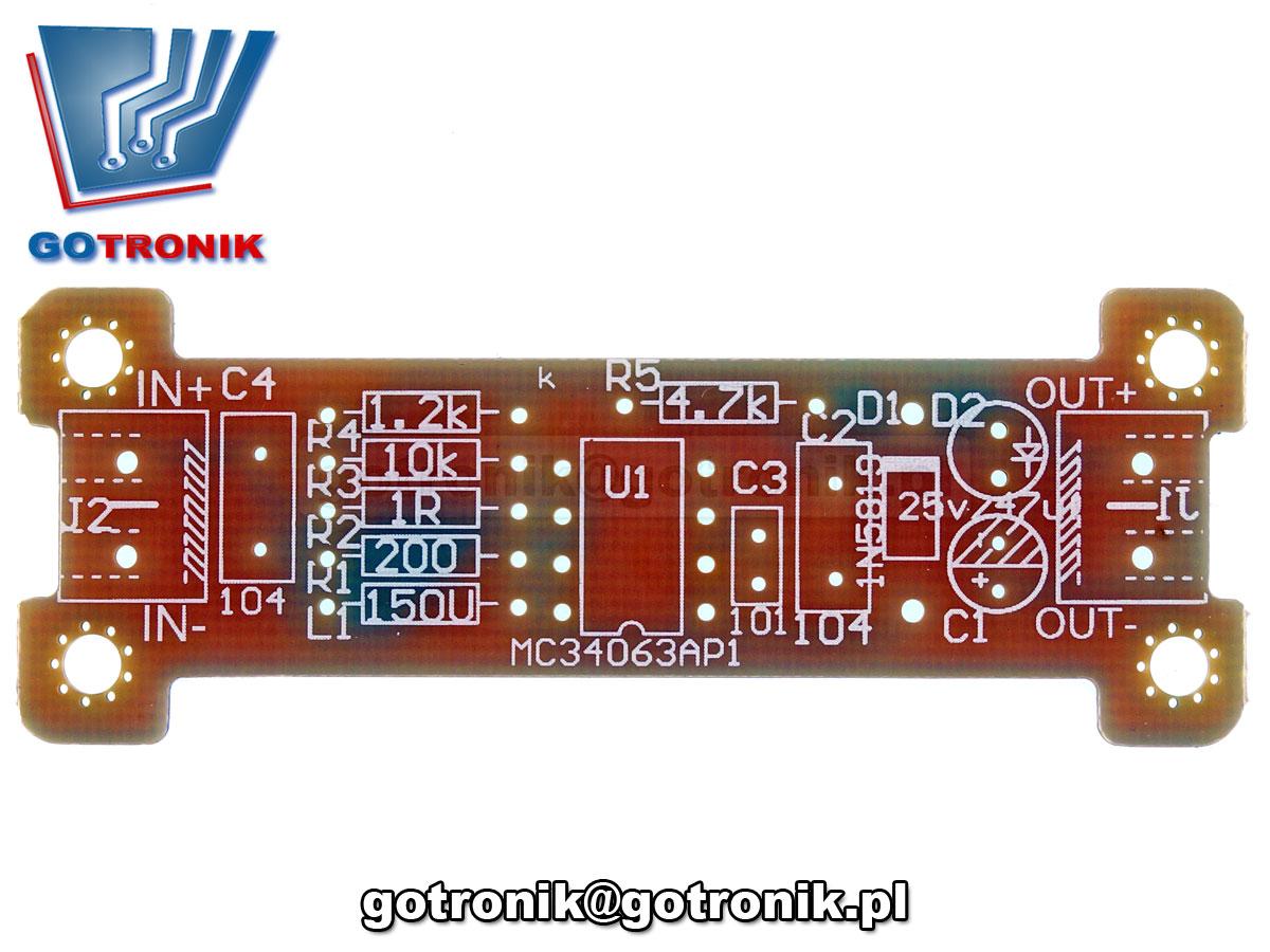 przetwornica napięcia MC34063A podwyższająca napięcie DC 5V na 12V ELEK-114 - zestaw do samodzielnego montażu KIT DIY