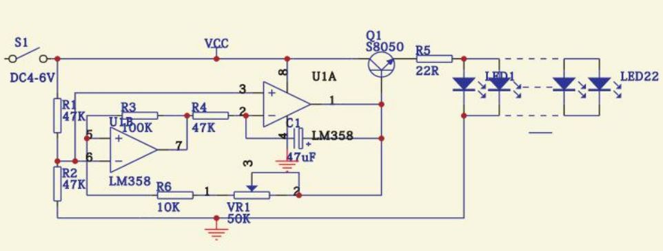 pulsujące serce migające LED - zestaw so samodzielnego montażu KIT DIY