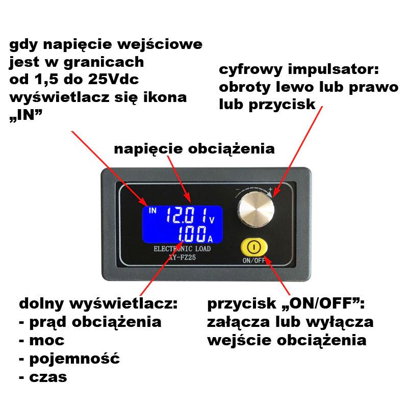 BTE-719 FZ25 elektroniczne obciążenie 25W 4A 25V