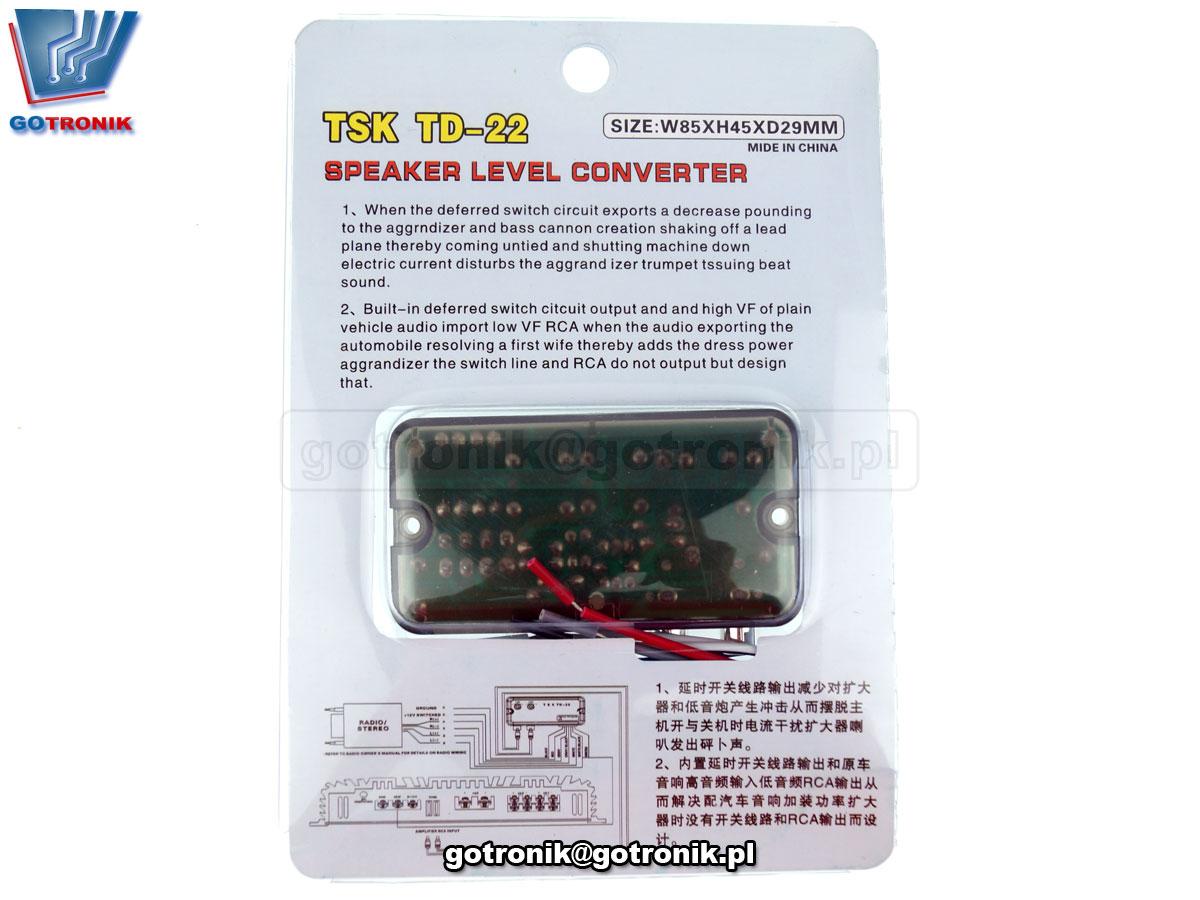 BTE-630 konwerter sygnału audio z wmacniacza mocy audio radioodbiornika RCA Level Adaptor High to Low sygnał liniowy cinch TSK TD-22