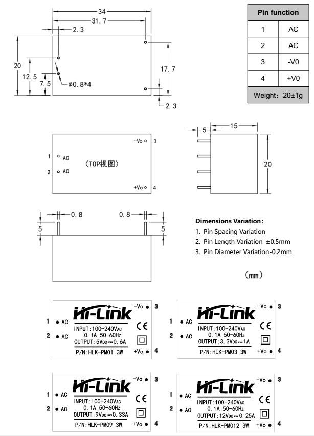 Miniaturowy zasilacz produkcji Hi-Link model HLK-PM01 12V 250mA