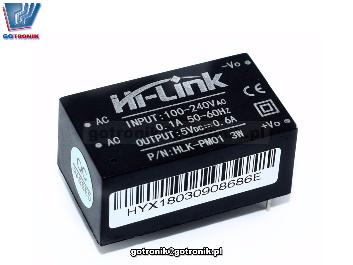 Miniaturowy zasilacz produkcji Hi-Link model HLK-PM01 5,0V 600mA
