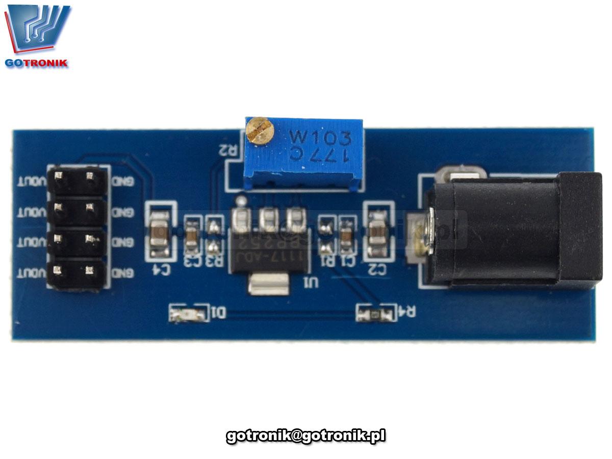 Zasilacz regulowany 2,5V - 10,5V- stabilizator napięcia AMS1117-ADJ