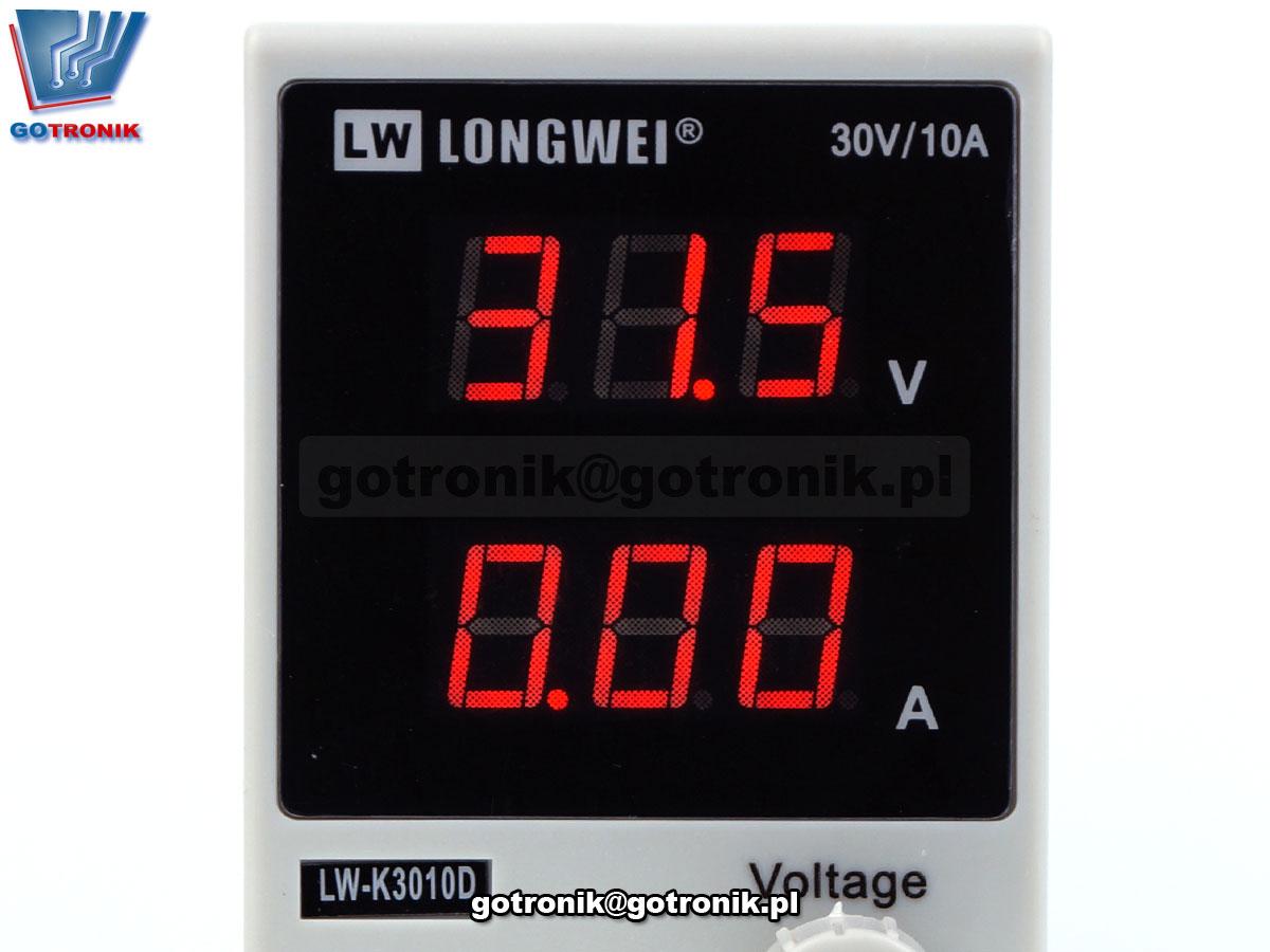 LW-K3010D, log wei, zasilacz dc, zasilacz laboratoryjny, zasilacz regulowany, zasilacz serwisowy, zasilacz 30V, zasilacz 10A, regulacja napięcia, zasilacz z woltomierzem, stabilizacja napięcia, 3010D, 300w, zasilacz impulsowy laboratoryjny