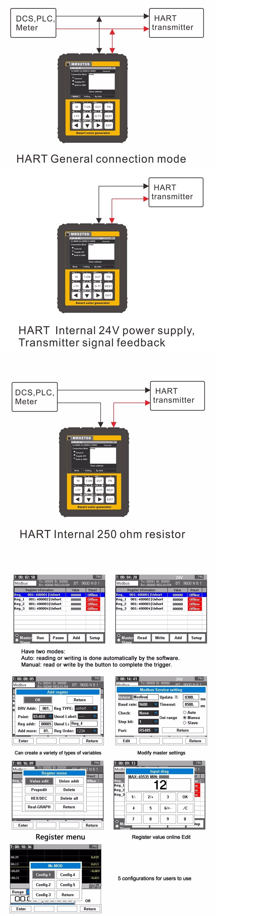 MR9270S HART kalibrator zadajnik pętli termopar pt100 pid