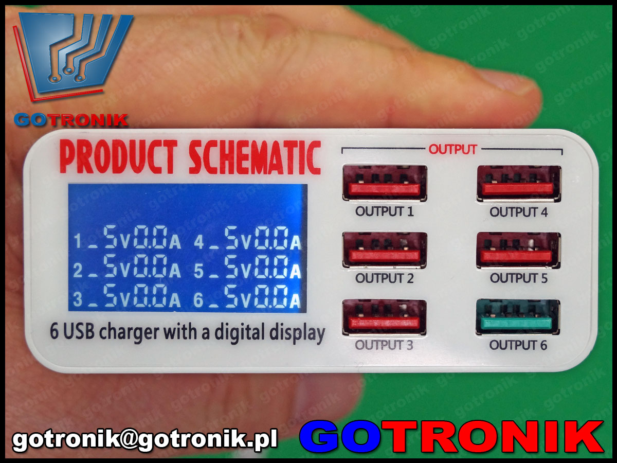 Ładowarka sieciowa USB 6 gniazd wyświetlacz prądu. Quick Charge 3.0 Qualcomm