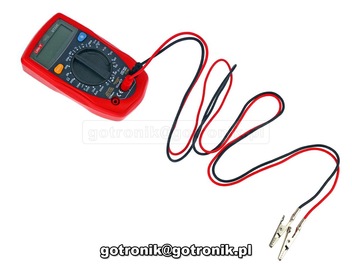 P-032 przewód pomiarowy wtyk banan 4mm krokodyl krokodylek 50mm czarny czerwony 15A