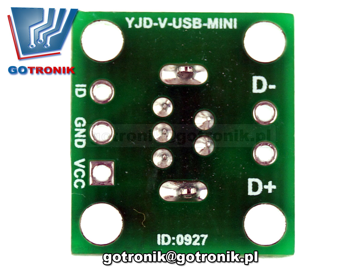 PCB-105 gniazdo USB miniUSB typ B adapter prototypowe PCB