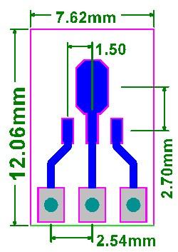 PCB-113 Płytka drukowana SOT89 lub SOT223 na SIP3 2,54mm 100mils