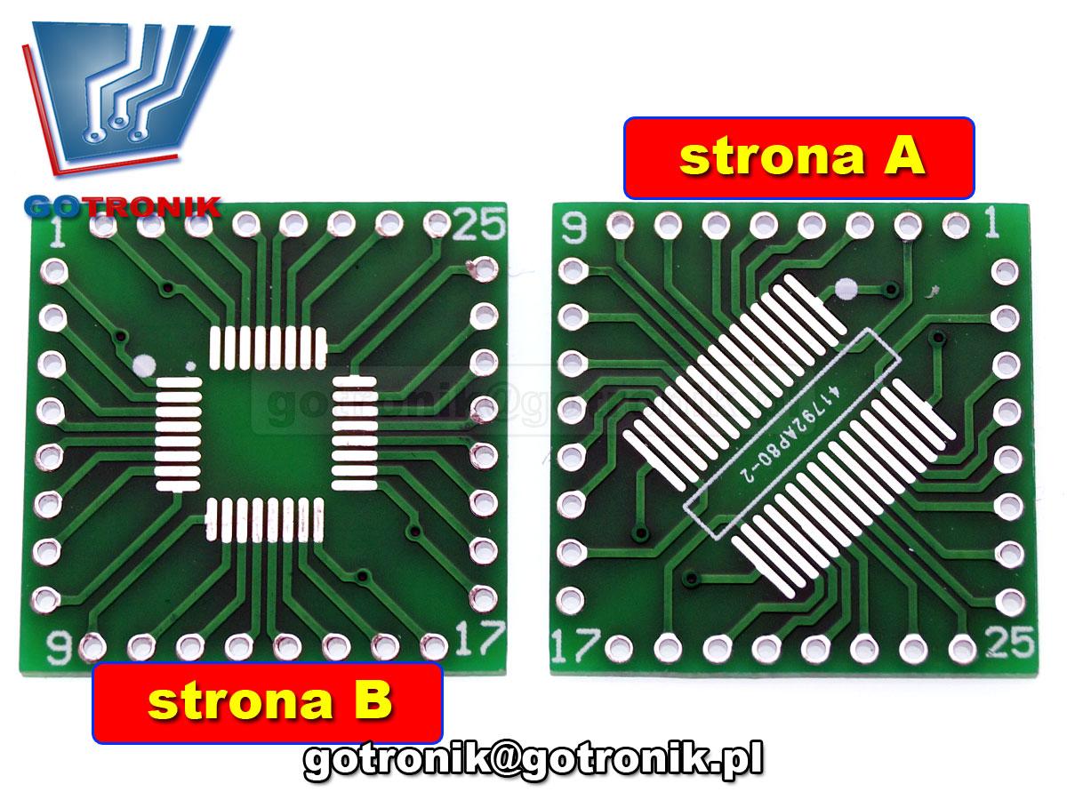 Uniwersalna płytka drukowana QFP32 / SSOP32 PCB-114 SOP32pin/SSOP32 QFP32pin raster 0,8mm QFP32 TQFP32 FQFP32 PQFP32 SOP32pin/SSOP32 QFP32pin raster 0,8mm QFP32 TQFP32 FQFP32 PQFP32