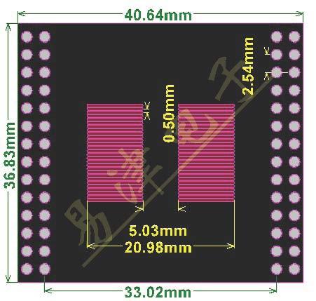 PCB-117 TSOP56 pin raster 0,65mm 0,5mm adapter przejściówka płytka drukowana PCB