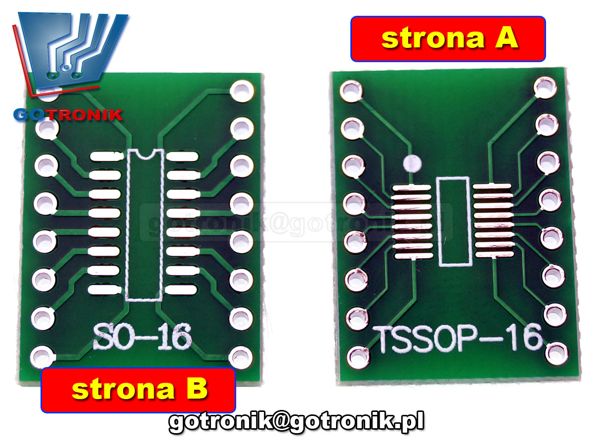 PCB-120 Płytka drukowana SO16/TSOP16 na DIP16 PCB adapter 1.27mm: SOP16/SOIC16/SO16/ 0.65mm: TSSOP16/SSOP16/MSOP16 0.65mm: TSSOP16/SSOP16/MSOP16