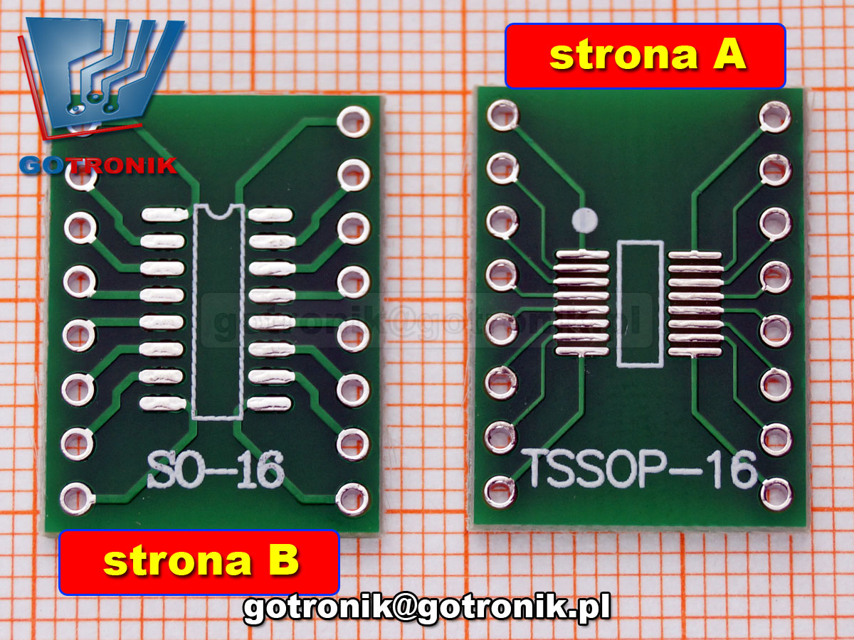 PCB-120 Płytka drukowana SO16/TSOP16 na DIP16 PCB adapter 1.27mm: SOP16/SOIC16/SO16/ 0.65mm: TSSOP16/SSOP16/MSOP16