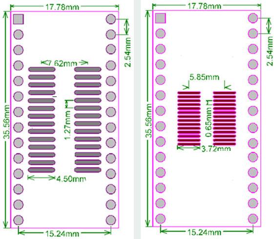 PCB-124 Adapter przejściówka TSSOP24/SOP24 na DIP20 0,65mm 1,27mm=50mils