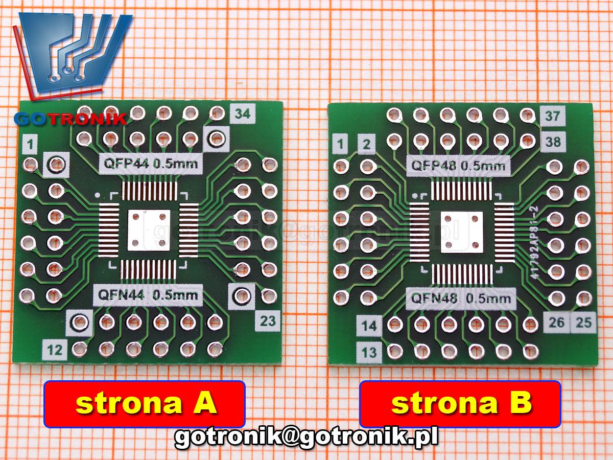 PCB-129 smd QFP48/QFN48/QFP44/QFN44 z rastrem 0.5mm płytka drukowana uniwersalna przejściówka adapter