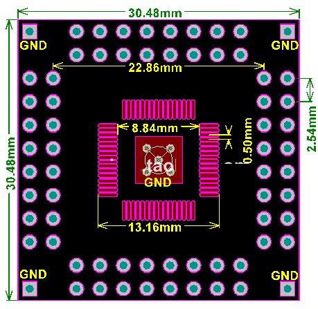 PCB-133 Płytka drukowana QFP64 0,8mm 0.8mm na 2,54mm PCB adapter adapter do lutowania QFP64 TQFP64 FQFP64 PQFP64 QFN64