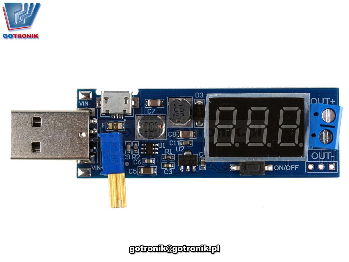 BTE-667 impulsowa przetwornica napięcia DC podwyższająca stepup USB microusb z woltomierzem