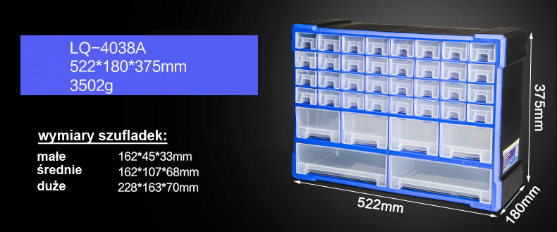 regał magazynowy retainer r-4038a box szufladki organizer na drobne elementy