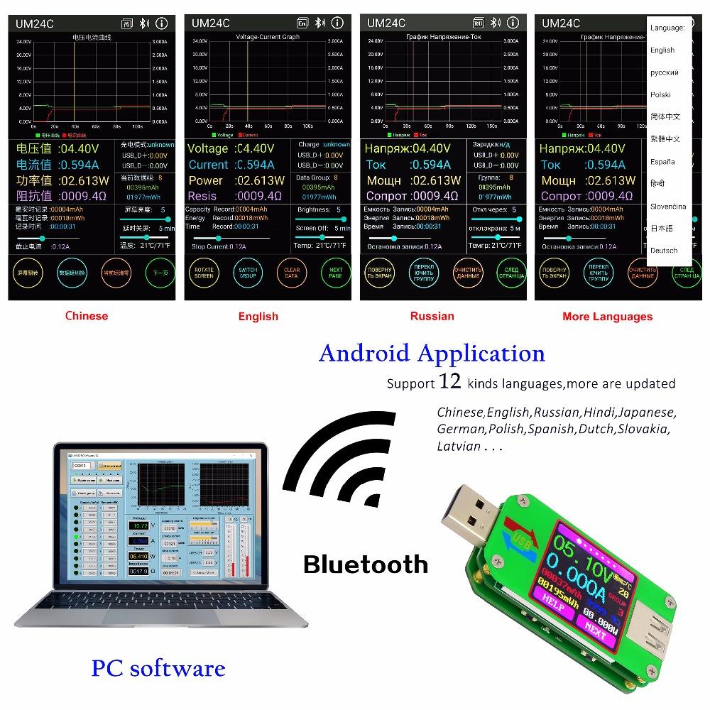 UM24C miernik portu USB, charger doctor, miernik USB, tester USB, Bluetooth,