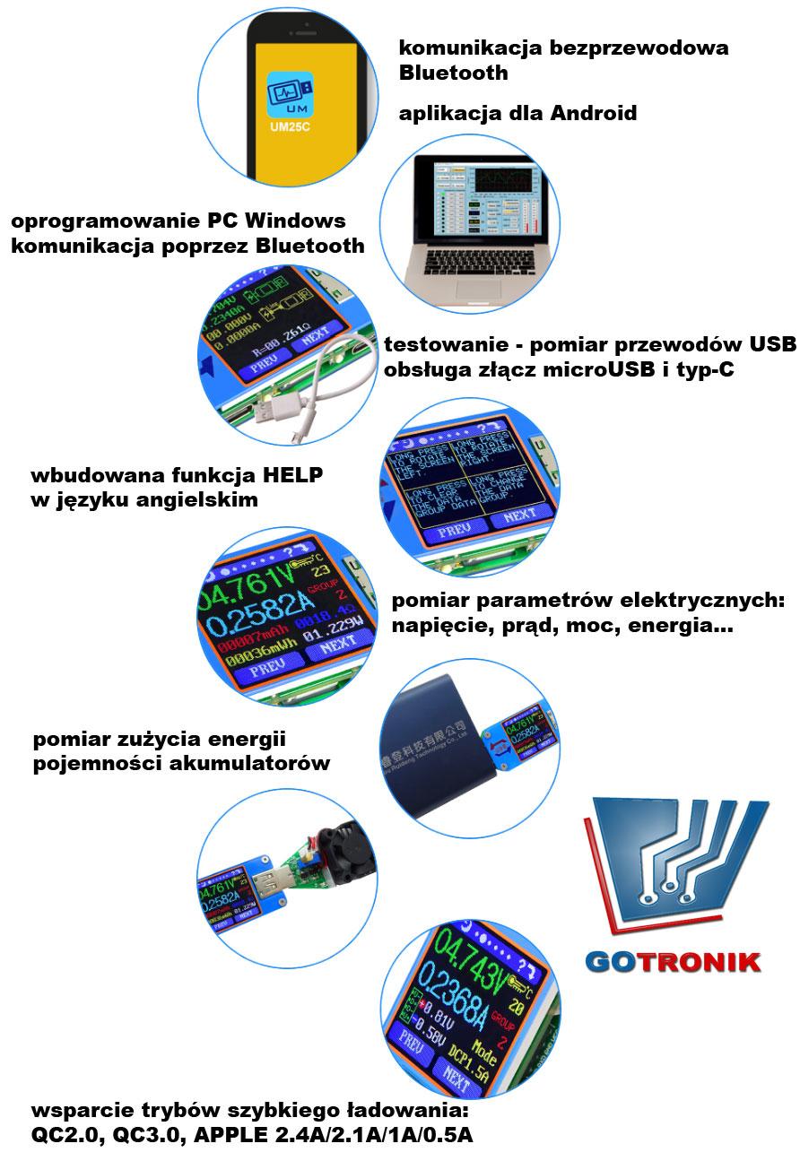 UM25C miernik portu USB, charger doctor, miernik USB, tester USB, Bluetooth, usb c,