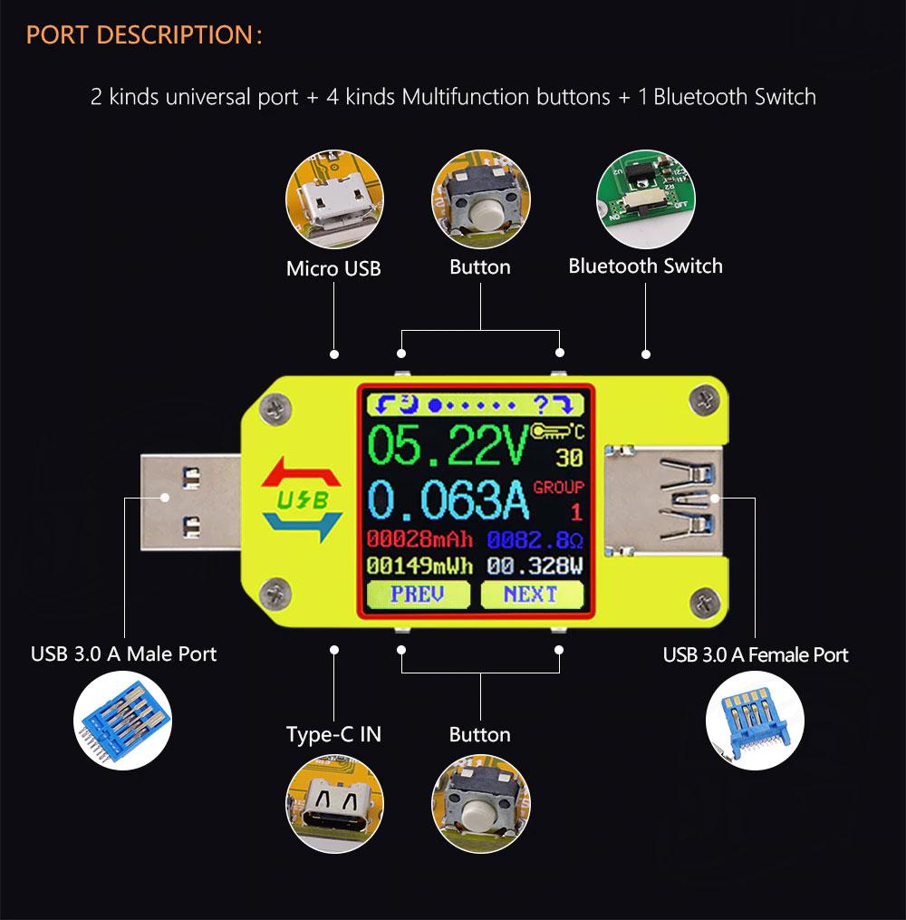 UM34 miernik portu USB, charger doctor, miernik USB, tester USB, usb c, micro usb