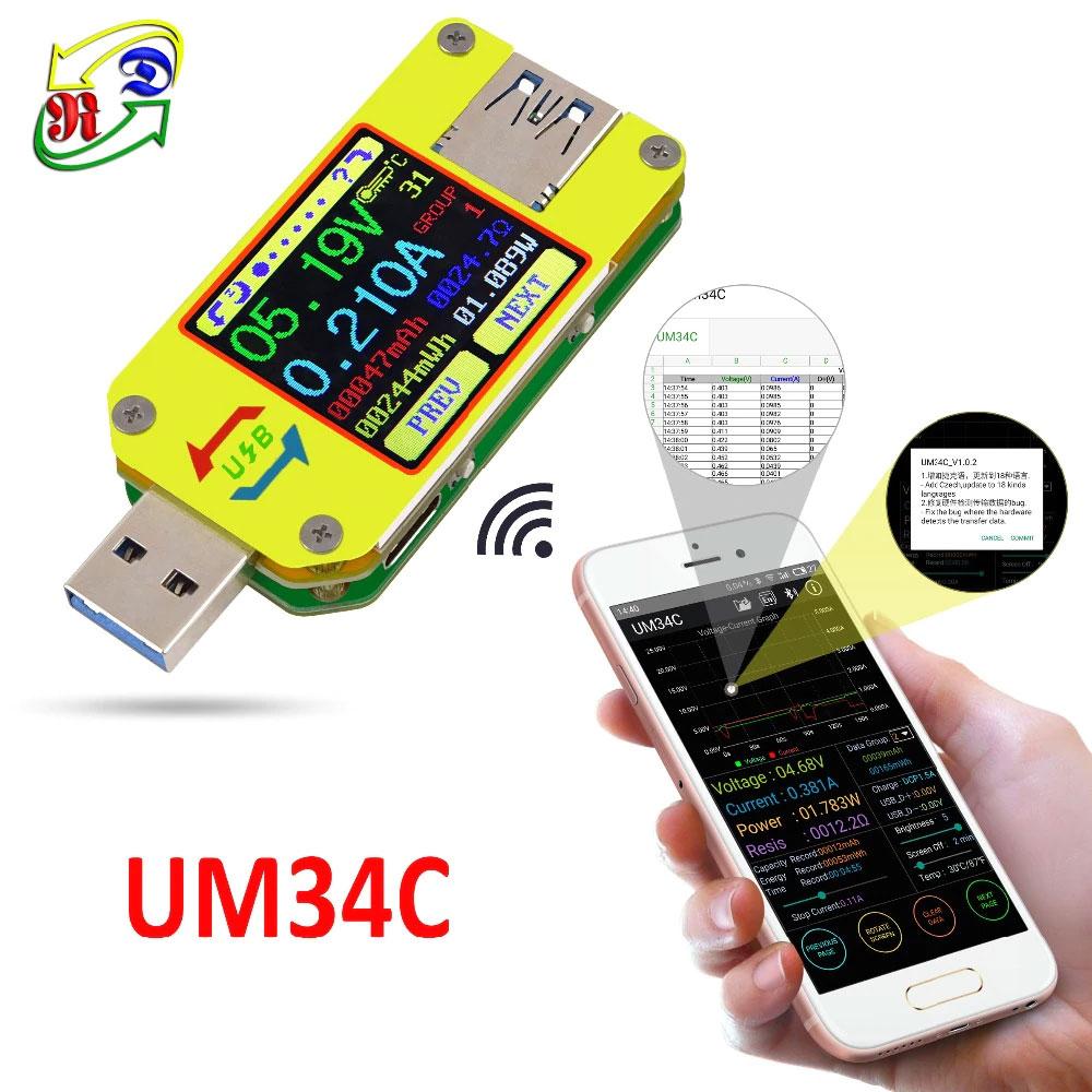 UM34C miernik portu USB, charger doctor, miernik USB, tester USB, Bluetooth, usb c,