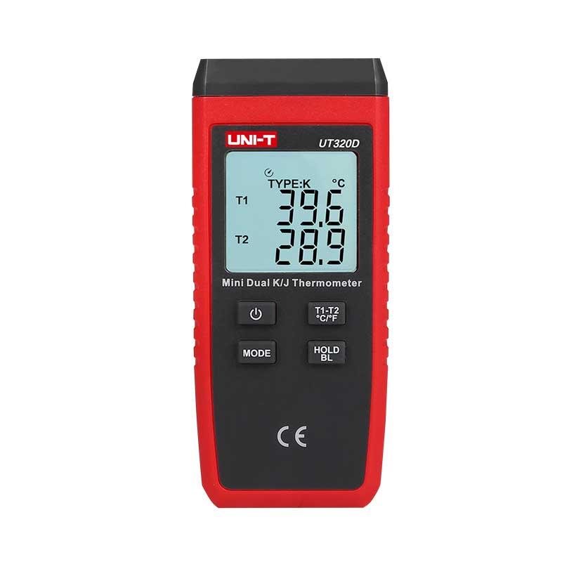 UT320D cyfrowy miernik temperatury dwukanałowy obsługujacy termopary typ K J Unit UT-320D