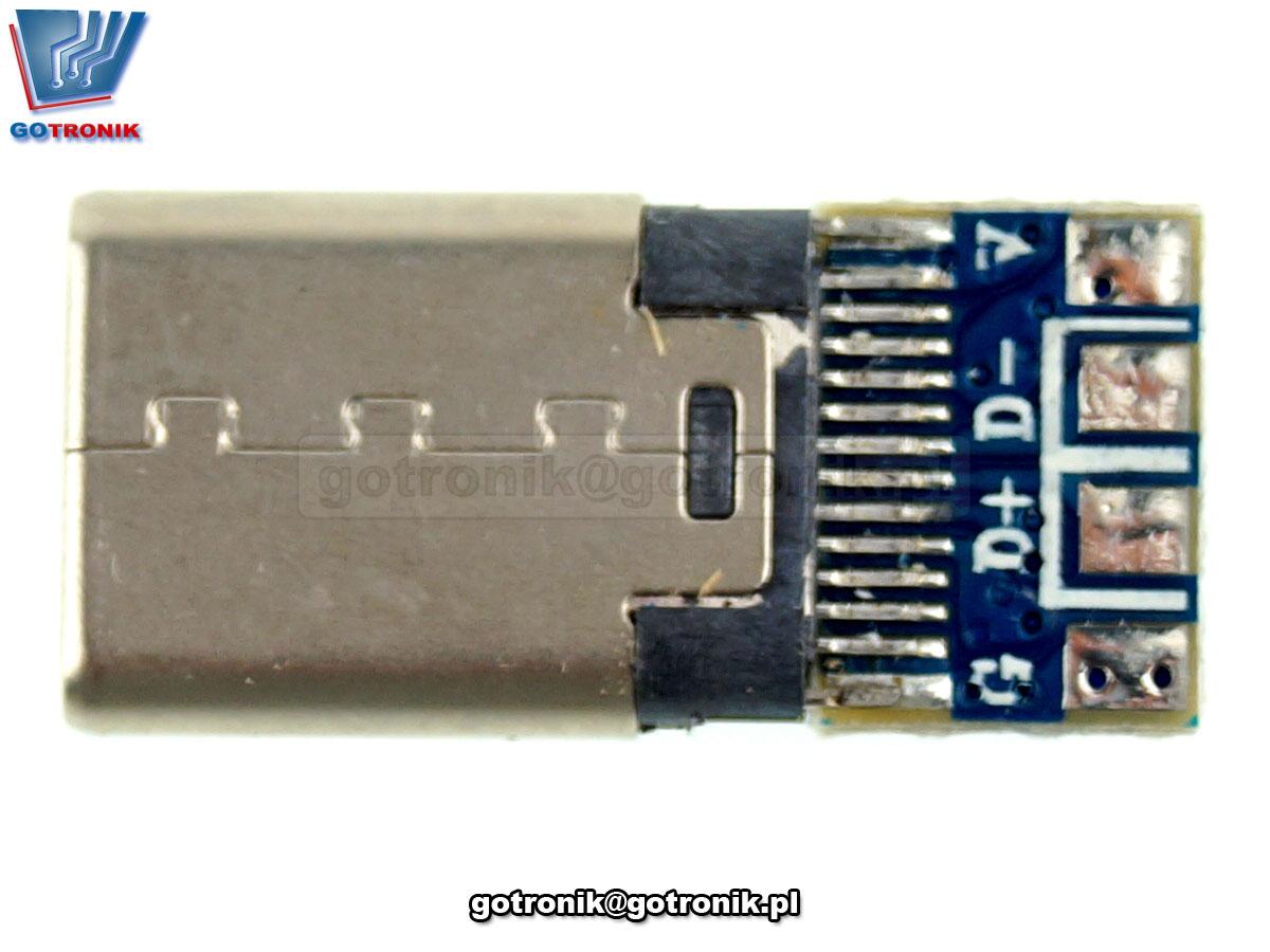 Z288 wtyk wtyczka usb c usb-c do przylutowania przewodów kabli