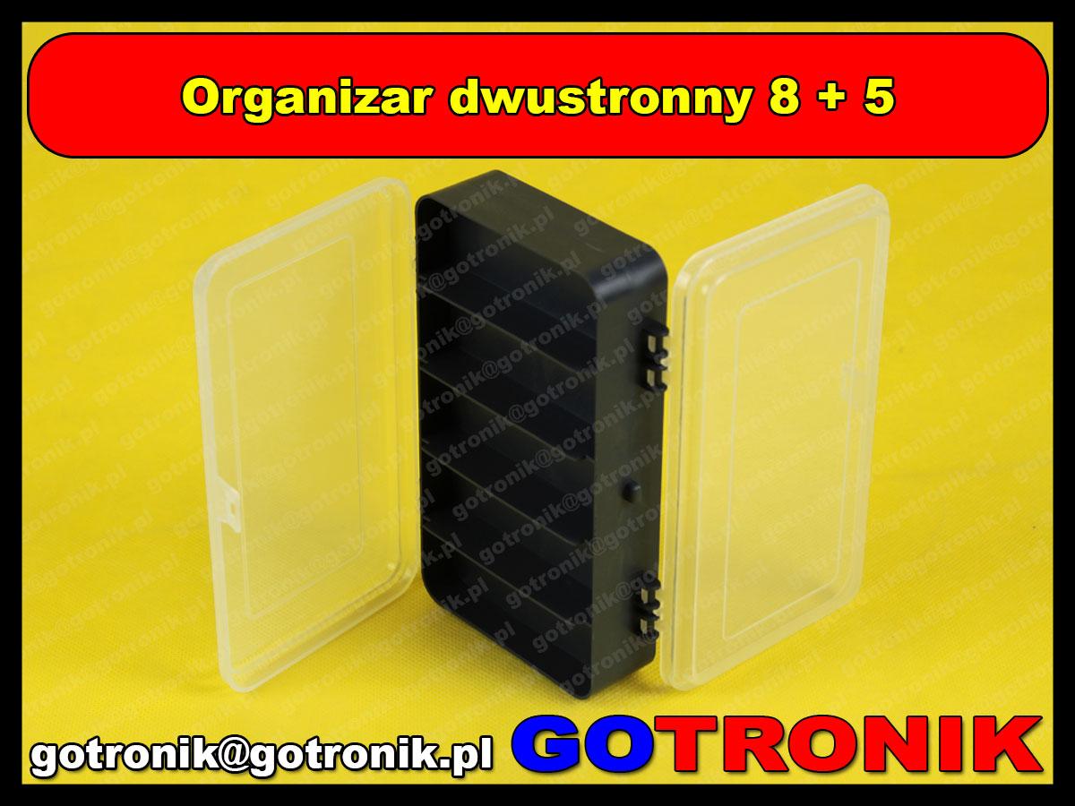 Organizer dwustronny 8+5 przegródek wymiary 165 x 95 x 45 mm - CZARNY