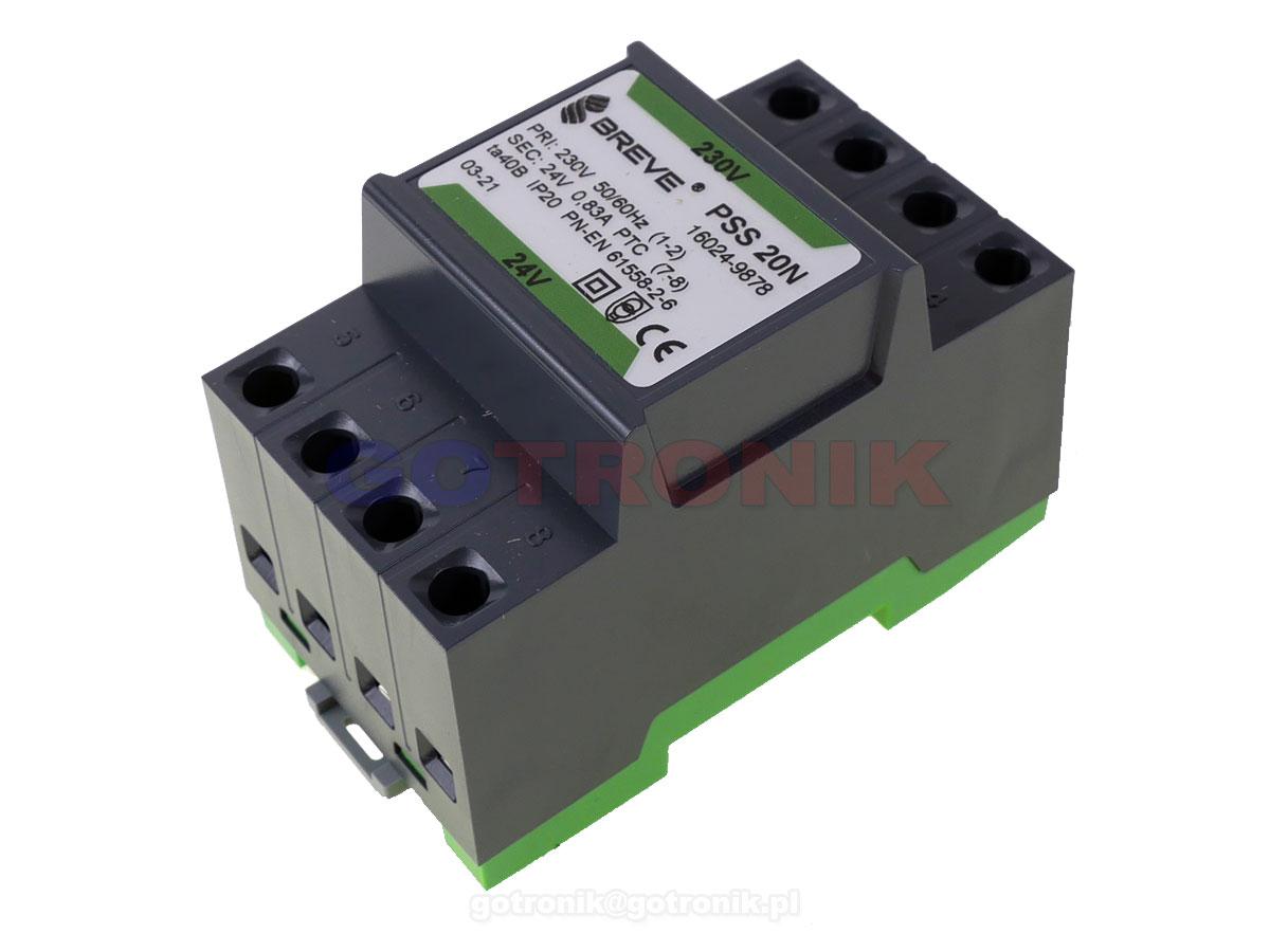 Transformator na szynę DIN 230V - 24V PSS20M