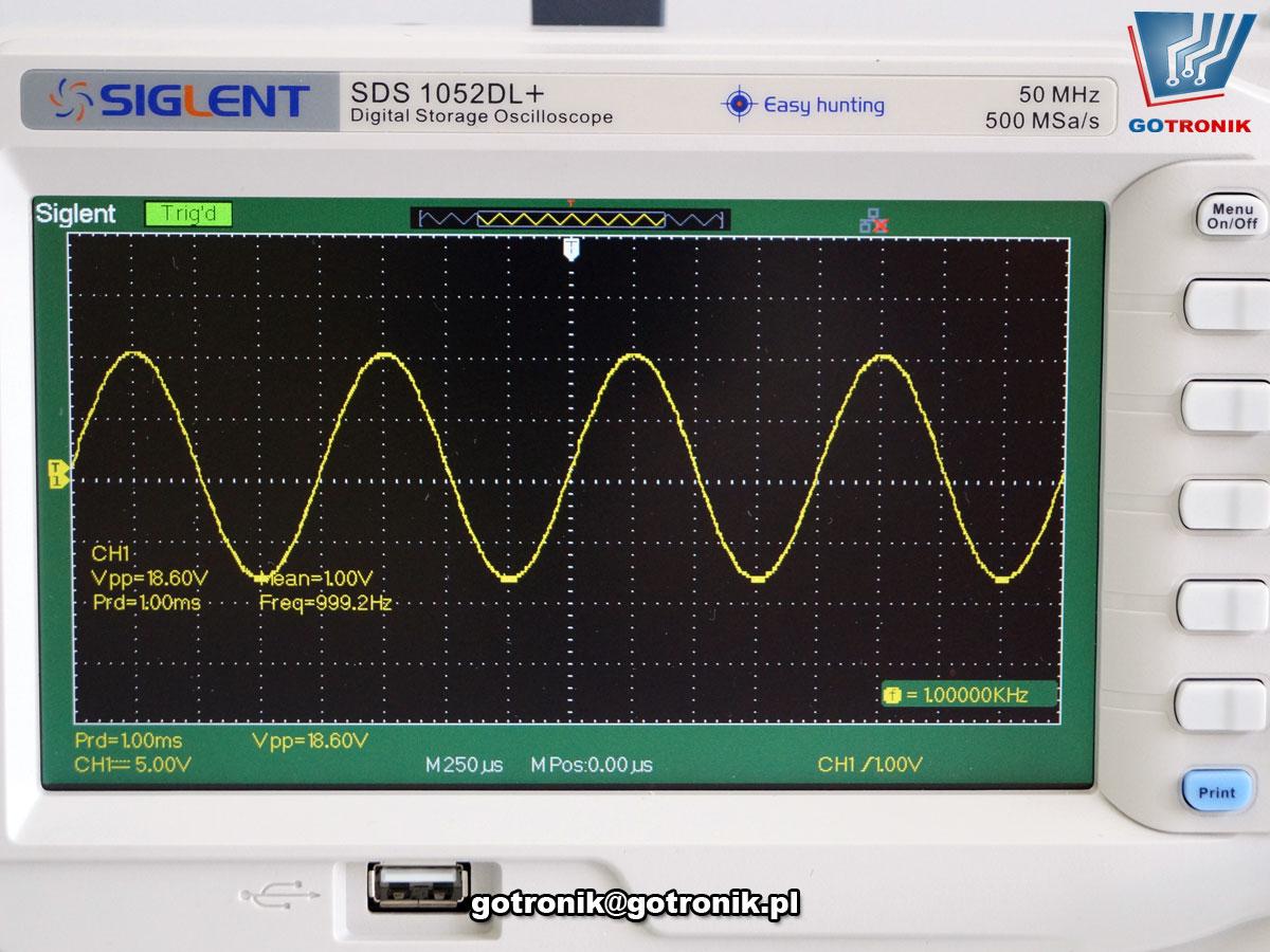 SDS1052DL+ oscyloskop cyfrowy dwukanałowy 50MHz Siglent uniwersalny zestaw z generatorem funkcyjnym DDS przebiegów
